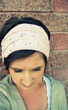 Simple Boho Wide Stretch Headband  Pink Eyelet  by LCDecorStudio, $10.00