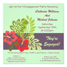 Hibiscus Floral Tropical Wedding Engagement Party Invitation