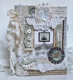 Soooooo pretty Shabby Chic Inspired: Oh là là. The Bitch Says: Throw your bloomers up in the air, watch them shred on the ceiling fan and then land on sticky card - voila! Fabric Art, Fabric Crafts, Paper Crafts, Fabric Books, Shabby Vintage, Look Vintage, Vintage Crafts, Vintage Lace, Journal Covers