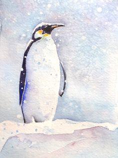 Emperor+penguin+painting+por+ChristyObalek+en+Etsy