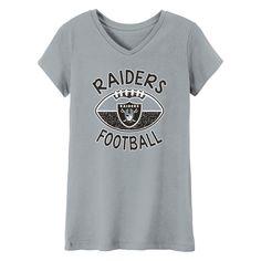 Oakland Raiders Girls  Represent V-Neck T-Shirt L d4b0d0b1b