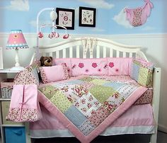 PINK CRIB BEDDING SET CLASSIC COUNTRY COTTAGE Infant Baby Girl Nursery 13 Pc NEW