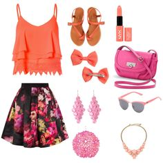 The Orange Strawberries by annatharakan on Polyvore featuring polyvore, fashion, style, Glamorous, Ted Baker, Jigsaw, Rosetti, Kate Spade, Amrita Singh, Vans, H&M, NYX and Worlds Away