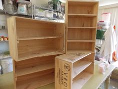 More wine boxes I have revamped into soap display shelves for market!!!