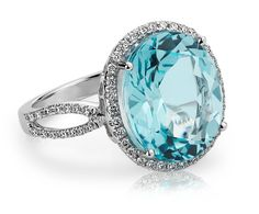 Blue Topaz and Diamond Cocktail Ring in 14k White Gold - Blue Nile