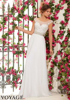 Wedding Gowns By Voyage featuring Crystal Beaded Embroidery on Delicate Chiffon Available in White/Silver, Ivory/Silver