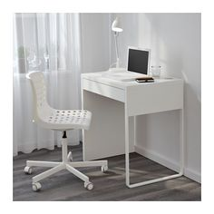 MICKE Desk IKEA It's easy to keep cords and cables out of sight but close at hand with the cable outlet at the back.