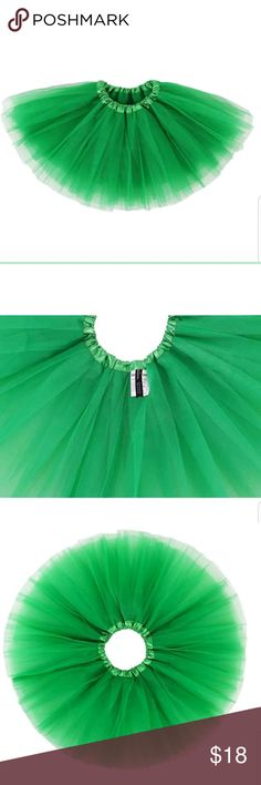 "Baby Girls Green Tutu Skirt 6 to 18 Months 100% Soft Polyester Pretty layered full ballet tutu With good elastic waistband, long; Easy Pull-on and off Baby for 6-18 month waist 14"" relaxed to 23"" fully stretched long; Girl for 2-8 Years waist 16"" relaxed to 30"" fully stretched, 11.5"" long Great for ballet dancing, parties, dress up costumes, or baby shower gifts Dress your little princess for ballet class in this sweet 5-tiered dance tutu. The cute ruffled waistband is elastic and has no…"