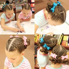 We went to Chapters and participated in some free spring break activities and crafts today!  Hair is inspired by @prettylittlebraids who put together a dutch 5 strand with a regular 3 strand French braid. The 3 strand angles around her head and the 5 strand crosses overtop. I thought the contrast between the two looked so cool. I ended mine in messy buns!