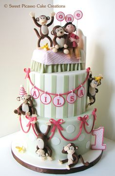 A cake for an adorable 1-year old whose favourite toy is a large, stuffed monkey.   What better way to showcase her playful and energetic personality, than with a 5 little monkeys jumping on the bed theme.  Rich dark chocolate mud cake with vanilla SMBC.  Gumpaste figures and fondant decorations.  Thanks for looking!