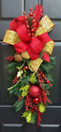 Red and green animal print Christmas Swag Wreath by FestiveTouch, $125.00