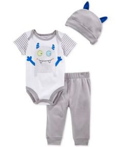 First Impressions Baby Boys' 3-Piece Monster Bodysuit, Pants & Hat Set, Only at Macy's