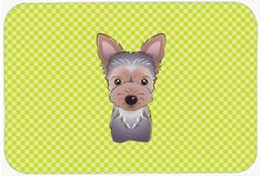 Checkerboard Lime Green Yorkie Puppy Mouse Pad - Hot Pad or Trivet BB1294MP #artwork #artworks