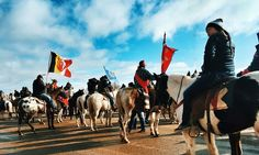 """""""Native American tribes mobilize against proposed #NorthDakota oil pipeline[, by Dallas, TX-based #EnergyTransferPartners, ]on horseback to protest against pipeline that encroaches on tribal lands & could pollute #Missouri river: 'Without water there is no life, & this is our main source.[..] It's not just our issue. Everybody downriver of us is going to be affected, all the way down to the Gulf of Mexico. We're not just looking out for ourselves; we're looking out for all people.'"""" #NotMeUS"""