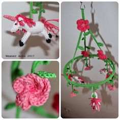 gehäkeltes Mobile mit Blümchen und Einhörnern Mobiles, Crochet Earrings, Christmas Ornaments, Holiday Decor, Home Decor, Unicorn, Mobile Phones, Christmas Ornament, Interior Design