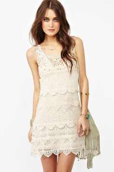 """Tattle Tale Dress - Vintage-inspired cream crochet dress featuring gold studs and scalloped detailing. Scoop neckline, detachable slip. Looks way cute paired with a wide-brim hat and ankle boots! By Ladakh.     *Shell: Cotton/Nylon Blend; Lining: Rayon/Spandex Blend  *32.5"""" length"""