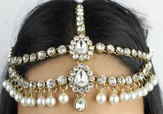 Handmade Kundan & Pearl Head Chain, Matha Patti, Tikka Chain,Jhumar Indian Bollywood Grecian Bohemian Bridal Wedding Head Piece Hair Jewelry