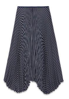 NEW Theory Zeyn Navy Stripe Accordion Pleat Asymmetrical Skirt Sz Small $455 #Theory #Asymmetrical