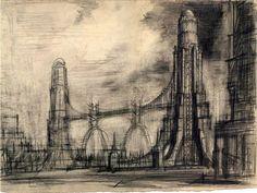 Yakov Chernikhov. Architectural sketch (late 1930s)