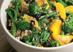 Purple Sprouting Broccoli, Squash and Spelt Salad Recipe: Cook Vegetarian Magazine