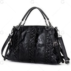 Black Braided Faux Leather Rivet Handbag (19 CAD) ❤ liked on Polyvore featuring bags, handbags, tote bags, faux leather tote, man bag, handbags totes, hand woven bags and vegan tote