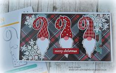 SSS Gnome die from the Cheer and Joy release, Tim Holtz Christmas Paper Stash, Mini Weathered Wood and Merry Misfits stamp sets Christmas Paper Crafts, Christmas Gnome, Handmade Christmas, Holiday Cards, Christmas Cards, Christmas 2019, Christmas Flyer, Po Trainer, Design Tape