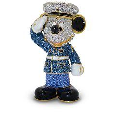 Jeweled Marine Mickey Mouse Figurine by Arribas | Figurines & Keepsakes | Disney Store