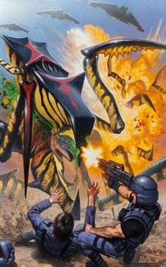 Pulp, Pulp-like, Digests, and Paperback Art, Denis Beauvais (Canadian, b. 1962). Starship Troopers #1/2,Darkhorse comic cover, 1997. Acrylic on board. 16 x 9.75 in....