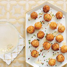 "Goat Cheese Poppers with Honey | Try these bites as croutons on salads or as ""meat"" balls for vegetarian pasta dishes"