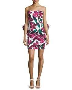 Strapless+Floral-Print+Dress+w/Oversized+Bow,+Fucshia++by+Milly+at+Neiman+Marcus.