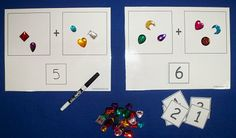 I like the idea of a template for placing objects to teach addition. I'd modify the mat so that the sum is to the right of the problem instead of under it.