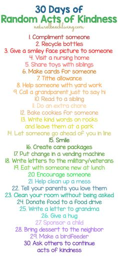 30 Days of Random Acts of Kindness Ideas for Kids, Free Printable, Teaching kids kindness matters, Easy ways to show kindness everyday. Kindness Challenge