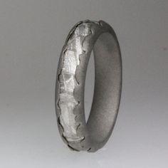 Meteorite Ring / CHARCOAL GREY Wavy Titanium Ring / 5 mm wide / Meteorite Signature Series. $649.00, via Etsy.