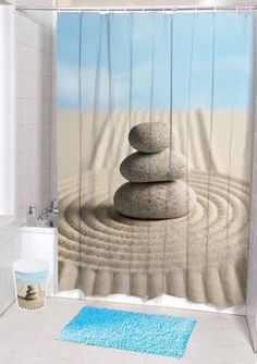 Wish You Had A More Zen Bathroom? This Calming Shower Curtain Might Help. #