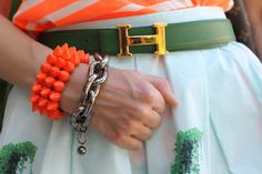 Green Hermes belt....CAbi has a green boa print belt for Spring 2014! Its adorable and real leather.