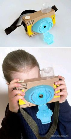 Recycled Cardboard Camera, the laundry detergent lid worked out so well for the . - - Recycled Cardboard Camera, the laundry detergent lid worked out so well for the … Cardboard Camera, Cardboard Toys, Cardboard Playhouse, Cardboard Furniture, Paper Toys, Cardboard Box Houses, Recycled Furniture, Handmade Furniture, Easy Crafts For Kids