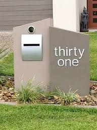 Funky modern mailbox and number. Home Mailboxes, Contemporary Mailboxes, Brick Mailbox, Modern Mailbox, House Names, Fence Design, Reno, Architectural Elements, House Front