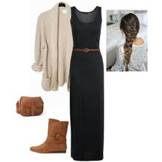 """""""Fall Maxi Dress Outfit"""" by apostolicgirl85 on Polyvore"""