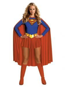 A sassy #superhero with powers from another world! Dress as #SuperGirl this #Halloween with this heroic costume, which features a red and blue leotard with skirt and the Superman logo, matching red boot tops, belt and cape. Superwoman Supergirl Superhero Fancy Dress Costume | $54.99