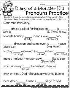 First Grade Halloween Worksheets - Diary of a Monster Kid Pronouns Practice.                                                                                                                                                                                 More