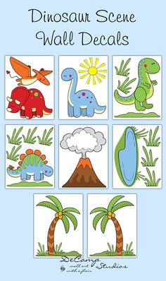 Dinosaur Wall Decals for baby boy or girl nursery and children's prehistoric dino room decor. Includes 5 different dinosaurs, 2 palm trees, a pond, a sun, a volcano, and enough grass to make a prehistoric dinosaur scene #decampstudios