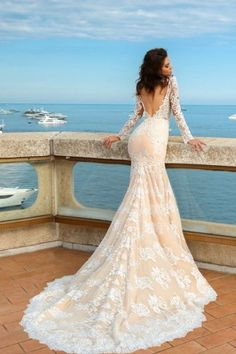 crystal design 2017 bridal long sleeves deep sweetheart neckline full embellished bodice ivory color elegant glamorous fit and flare mermaid wedding dress keyhole back chapel train (rian) bv -- Crystal Design 2017 Wedding Dresses Wrap Wedding Dress, Amazing Wedding Dress, Fit And Flare Wedding Dress, Wedding Dresses 2018, Bridal Dresses, 2017 Wedding, 2017 Bridal, Backless Wedding Dress With Sleeves, Wrap Dress