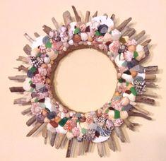 Driftwood Shell Seaglass  Wreath Large 22 by PastNPresentsByAlana