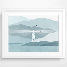 Nautical Decor, Lighthouse Art Print, Beach Decor, Nautical Nursery, Baby Boy - Blue Grey