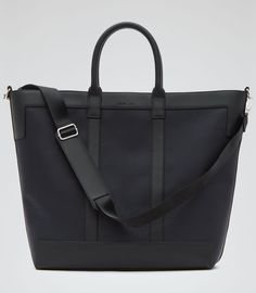 Mens Navy/black Textured Tote Bag - Reiss Roma