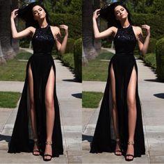 Black High-Slit A-line Chiffon Prom Dresses 2017