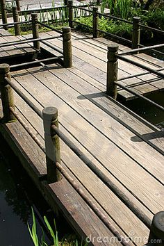 Photo about Wood walkway over pond at the Japanese Gardens in Portland, Oregon. Image of walkway, plank, deck - 127117 Pergola Garden, Pergola Shade, Terrace Garden, Garden Paths, Garden Bridge, Backyard, Wood Pathway, Wooden Walkways, Wooden Pergola