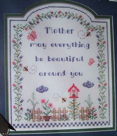 A MOTHER'S DAY WISH, Cross Stitch Pattern, LOVELY SENTIMENT FOR MOM