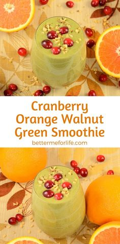 This orange cranberry walnut green smoothie is like a tasty salad in a glass! It's packed with fiber, antioxidant and anti-inflammatory benefits.