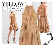 """""""La La Land Yellow Dress Gold"""" by hermoinegranger ❤ liked on Polyvore featuring Halston Heritage and Gianvito Rossi"""